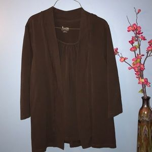 Denim & Co Brown Blouse/Jacket Combo
